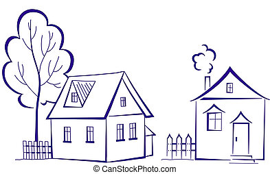 Houses with a tree, pictogram