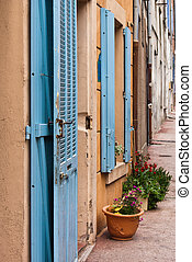 Houses with blue shutters