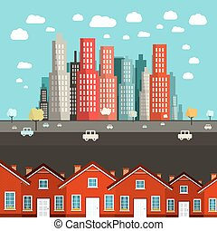Houses with City on Background - Vector