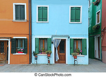 Houses with colorful facades