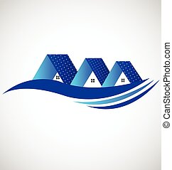Houses with solar panel logo