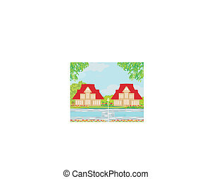 Houses with swimming pool - illustration
