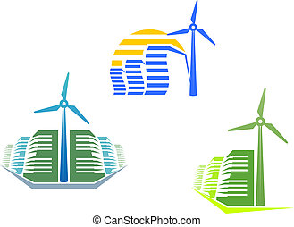 Houses with wind turbines