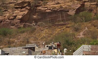 Housesin Jodhpur below Mehrangarh Fort - Wide shot of houses...