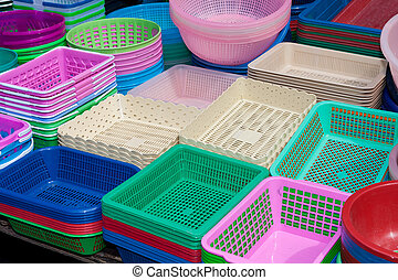 Houseware in various colors made of plastic