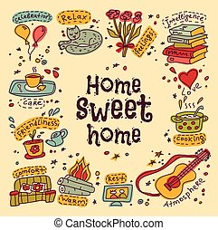 housewarming, zoet, thuis, begroetende kaart