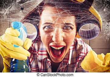 Housewife against the cobwebs - Desperate housewife screams...