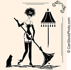 housewife and a broom