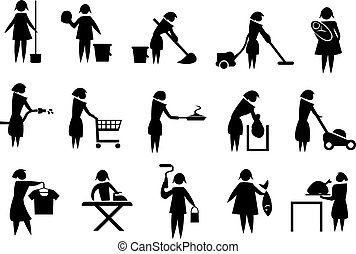Vector illustration of housewife doing household chores black and white icons