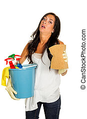 housewife annoys brush over - a young woman is annoyed that...