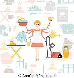 Housewife - Busy housekeeper simultaneously doing many tasks...