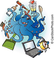Housewife character like an octopus - Vector cartoon...