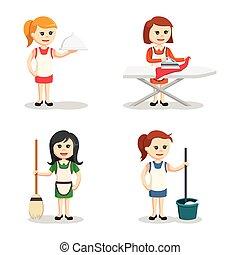 housewife character set illustration design