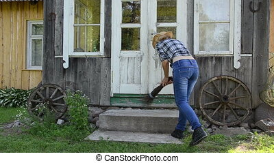 housewife clean stair - Housewife in shirt jeans and hat...