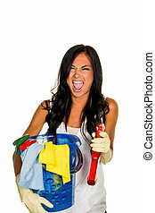 housewife cleaning annoyed about