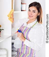 Housewife cleaning at home