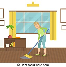 Housewife Cleaning Floor with Mop, Young Woman Mopping Room Vector Illustration