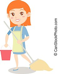 Housewife cleaning house of character