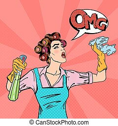 Housewife Cleaning the House with Spray and Rag. Pop Art. Vector illustration