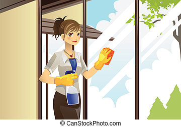 Housewife cleaning windows - A vector illustration of a...