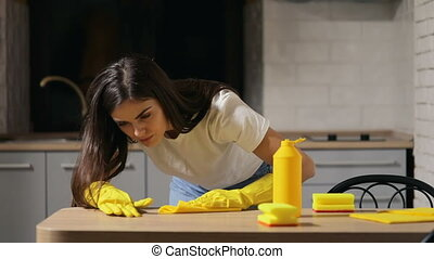 Housewife Cleans Kitchen Table - Beautiful and busy...