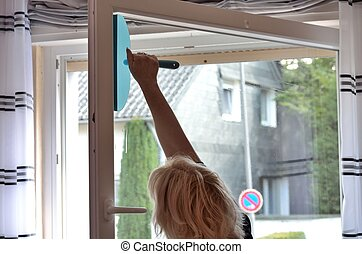 Housewife cleans windows - Wife with the housework, cleaning...