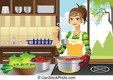 Housewife cooking - A vector illustration of a housewife...