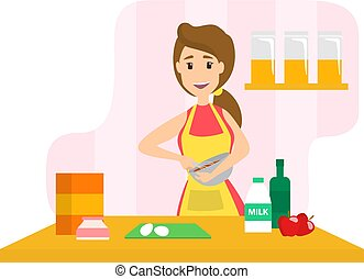 Housewife cooking apple pie - Young smiling housewife...