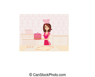 Housewife cooking cake in the kitchen