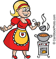 Housewife cooking soup