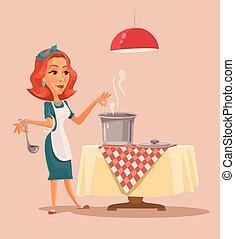 Housewife cooking. Vector cartoon flat illustration