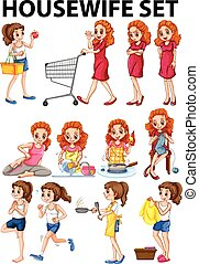Housewife doing different activities illustration