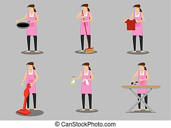 Housewife Doing Household Chores Vector Character Illustration