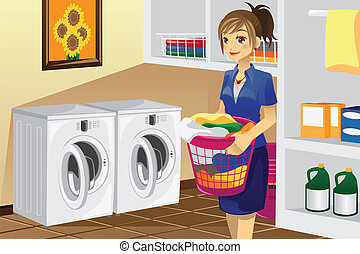 Housewife doing laundry - A vector illustration of a...