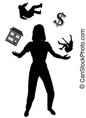 Editable vector silhouette of a woman juggling her commitments