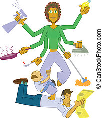 Housewife goddess - Multitask housewife maintaining peace...