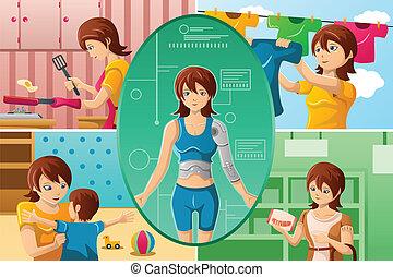 A vector illustration of housewife handling multiple tasks, portrayed as half human half machine