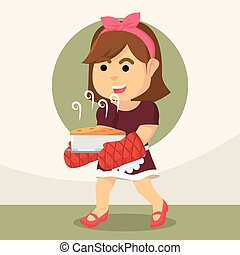 housewife holding baked cake