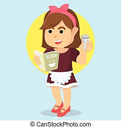 housewife holding recipe book