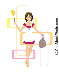 housewife - illustration of a cleaning young woman