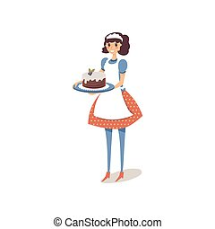 Housewife in white apron holding homemade sweet cake with blueberries at the top. Happy female character design. Vector on white