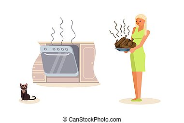 Housewife is holding burned turkey