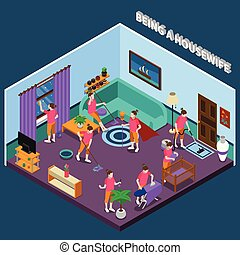 Housewife Isometric Composition