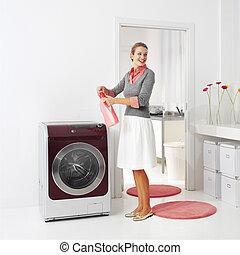 housewife keeps detergent