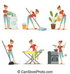 Housewife make different domestic works. Mother occupation. ...