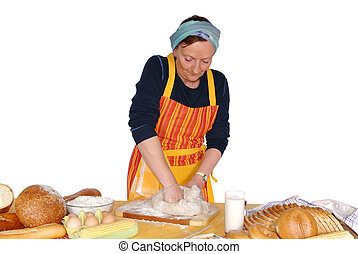 Housewife molding dough, making fresh home made bread. ...