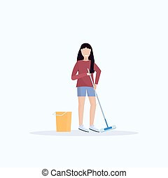 housewife mopping floor smiling woman cleaner holding mop cleaning service housework concept full length flat white background