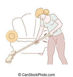Housewife mopping floor with mop in living room