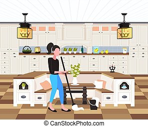 housewife mopping floor woman cleaner using mop cleaning service housework concept modern kitchen interior full length flat horizontal