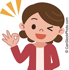 Housewife OK sign - Vector illustration.
